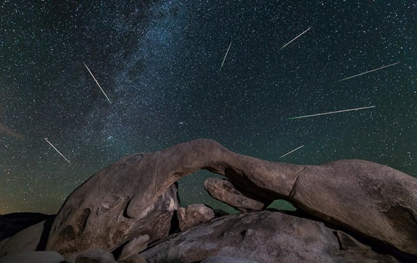 Perseid Meteor Shower over Arch Rock, Joshua Tree National Park, Aug 13, 2014